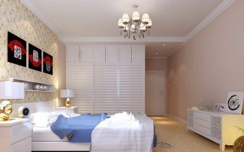 卧室米色照片墙现代简约风格装潢设计图片