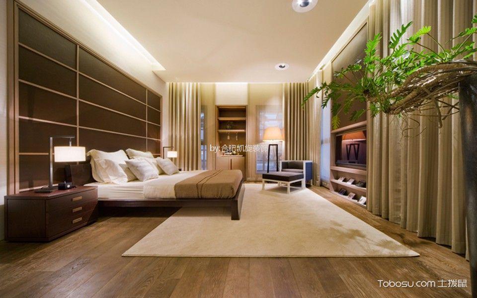 卧室咖啡色背景墙日式风格装潢效果图