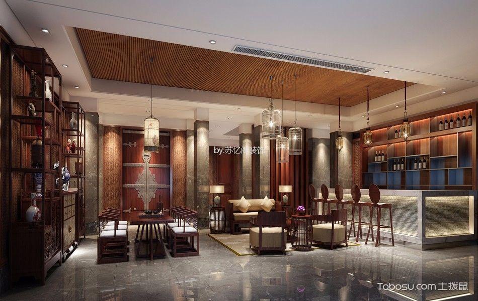 客厅白色吧台新中式风格装修设计图片