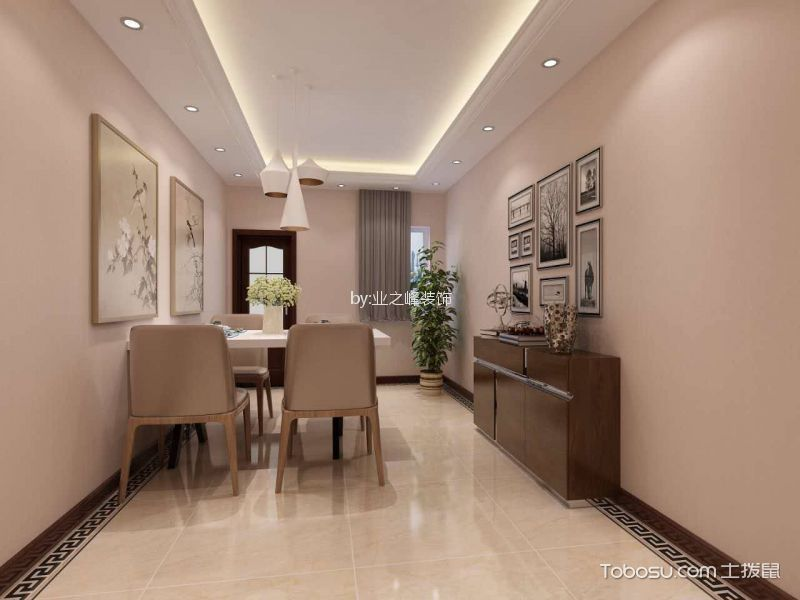 餐厅米色地砖现代中式风格装修设计图片