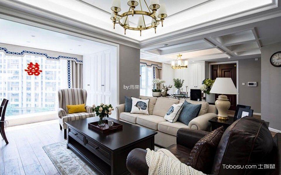 客厅白色落地窗美式风格装修效果图