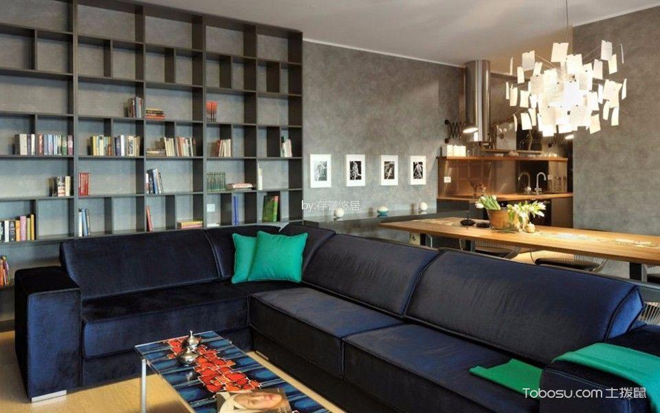客厅黑色书架现代风格装潢效果图