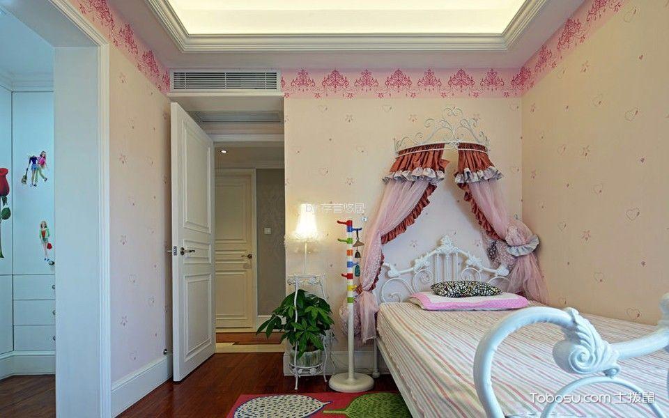 儿童房米色背景墙简欧风格装修图片