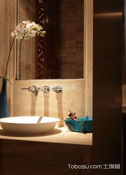 卫生间米色背景墙中式风格装修效果图