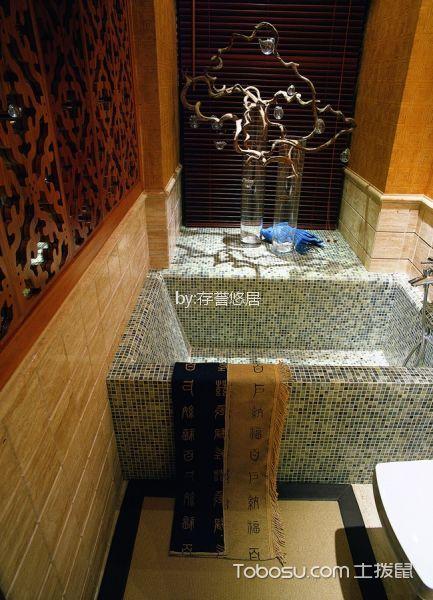 浴室灰色浴缸中式风格装饰效果图