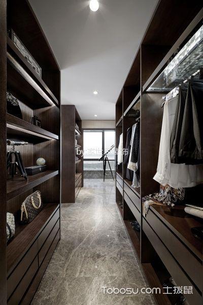 衣帽间咖啡色衣柜现代风格装潢设计图片
