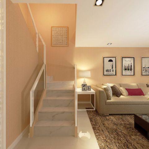 客厅楼梯简欧风格装修设计图片
