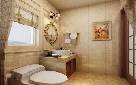 卫生间背景墙简欧风格装饰设计图片
