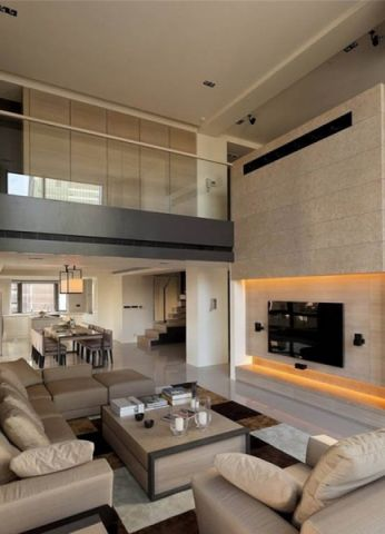 客厅米色背景墙简约风格装修效果图