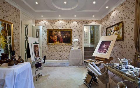 书房照片墙欧式风格装饰图片
