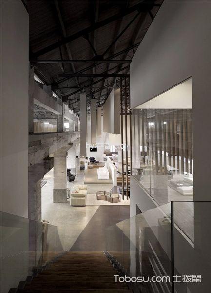 现代风格工厂改造走廊背景墙装修图片