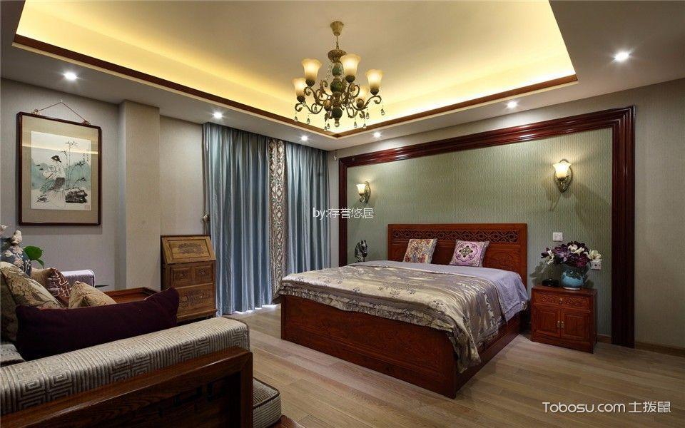 卧室蓝色窗帘新中式风格装饰设计图片