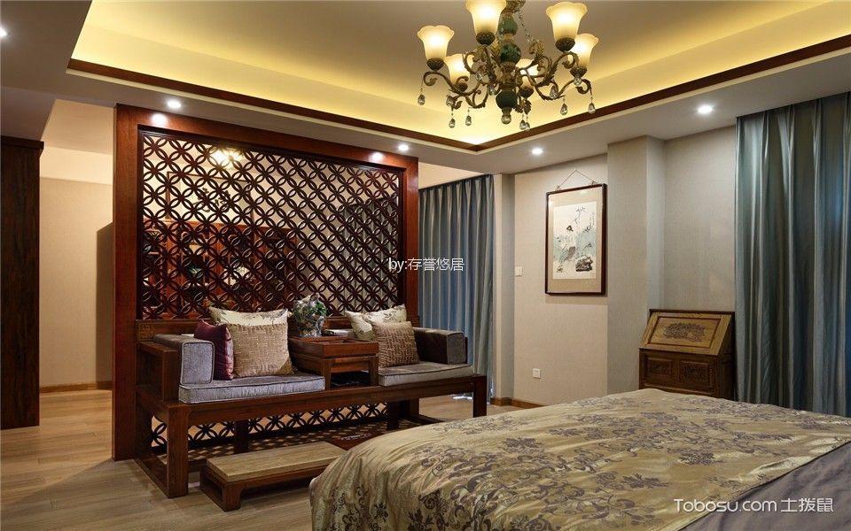 卧室咖啡色隔断新中式风格效果图