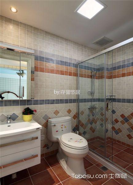 卫生间彩色背景墙新中式风格装潢效果图