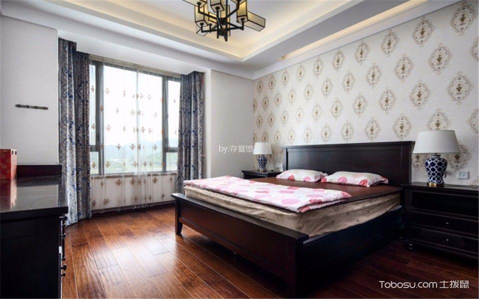 卧室咖啡色地板砖新中式风格装潢图片
