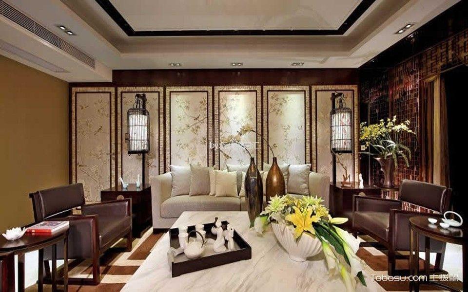 锦城花园90平中式风格二居室装修效果图