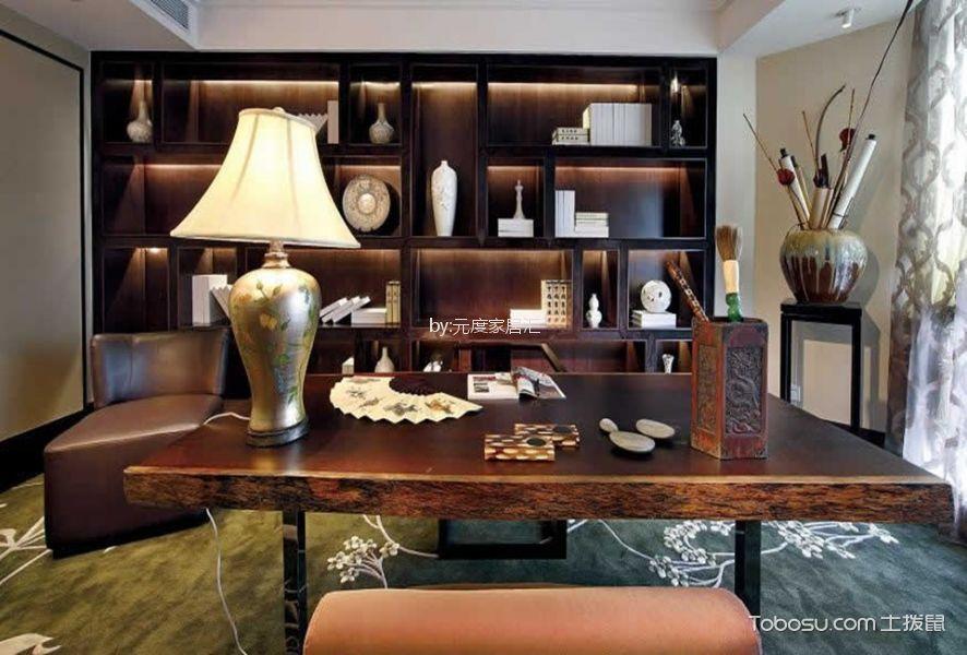 书房咖啡色书桌中式风格装修图片