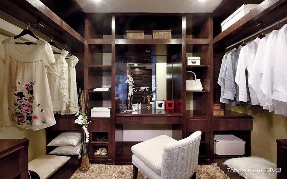 衣帽间咖啡色梳妆台中式风格装饰图片