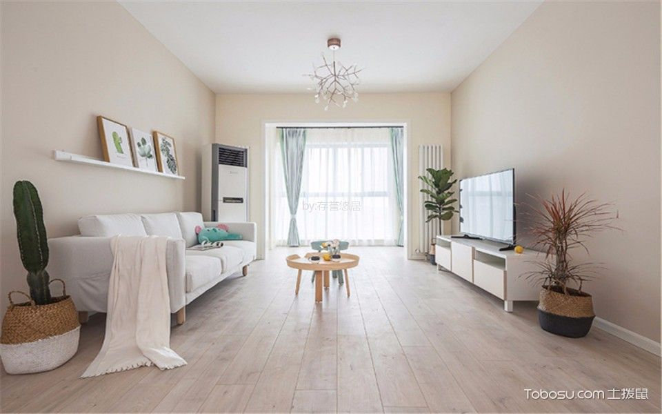 客厅咖啡色地板砖北欧风格装修效果图