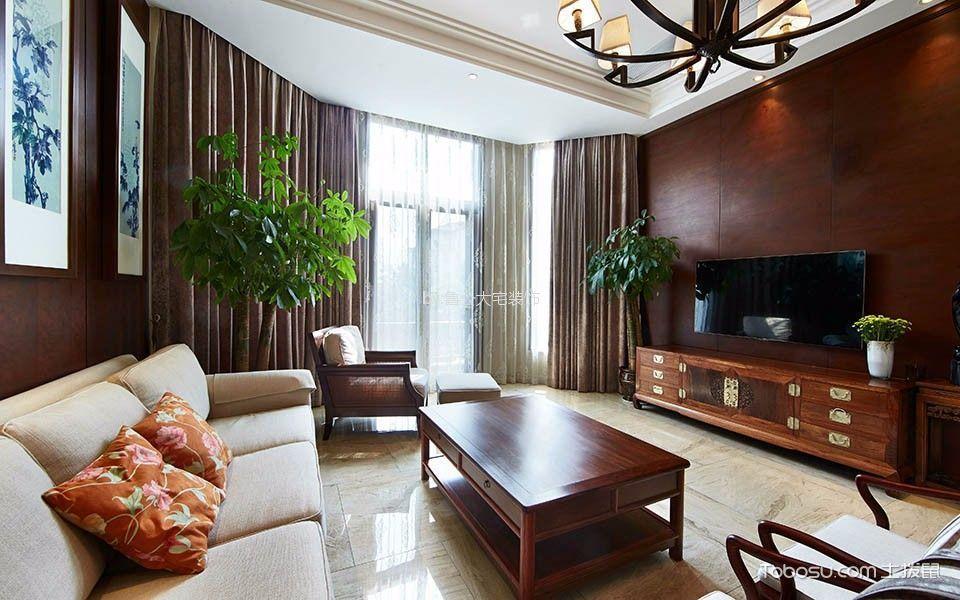 客厅咖啡色窗帘新中式风格效果图
