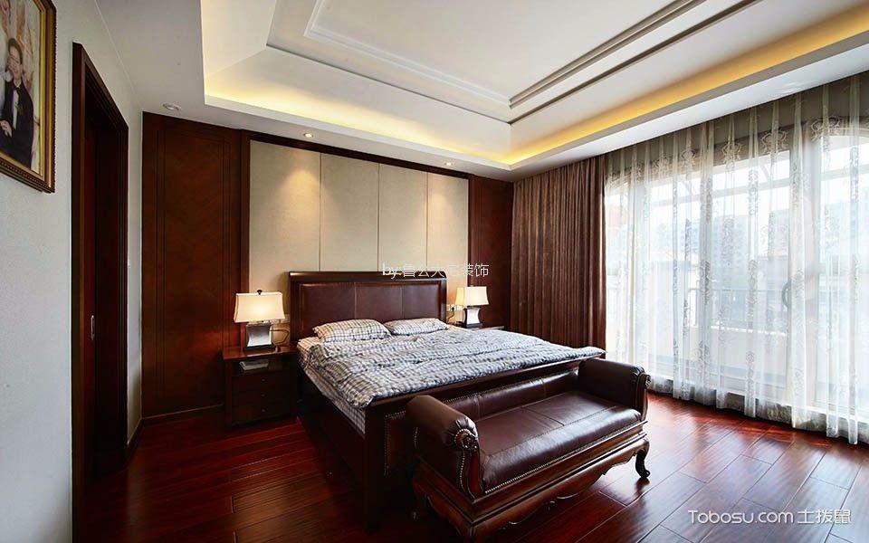 卧室红色地板砖新中式风格装饰效果图