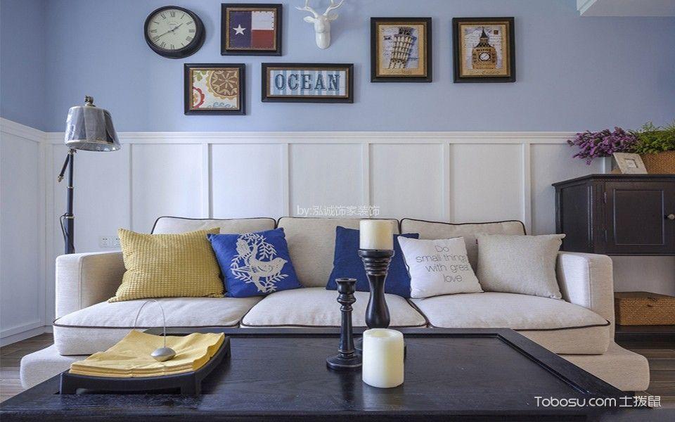 88平方现代美式风格二居室装修效果图