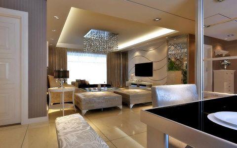 客厅窗帘现代欧式风格装潢图片