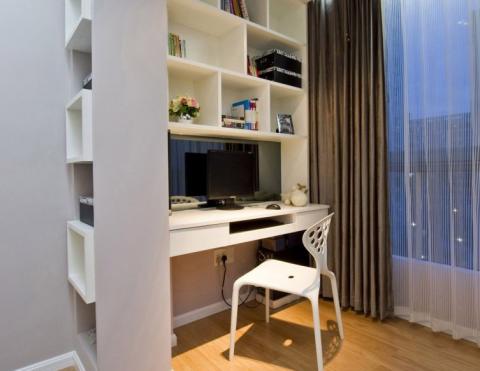 潮流白色书房装修设计图片