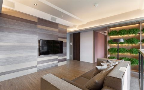 客厅灰色背景墙现代简约风格装饰效果图