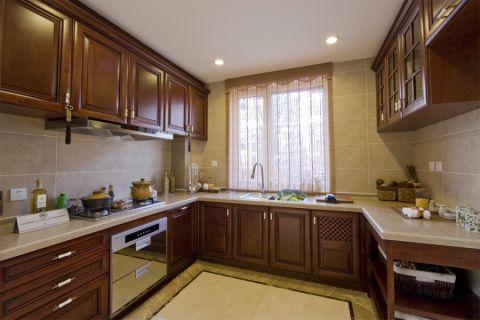 厨房咖啡色橱柜新中式风格装修图片