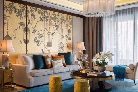 客厅黄色背景墙新中式风格装饰图片