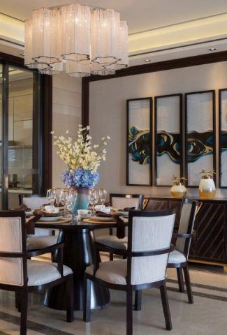 餐厅黑色餐桌新中式风格装潢图片