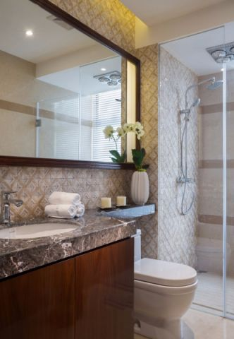 卫生间白色隔断新中式风格装修设计图片
