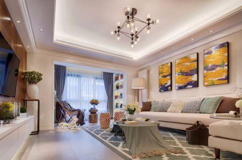 客厅白色沙发装潢实景图