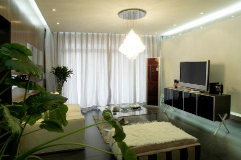客厅白色窗帘简约风格装饰效果图