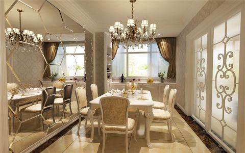 餐厅推拉门欧式风格装潢设计图片