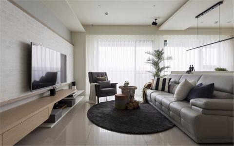客厅白色窗帘北欧风格装潢效果图