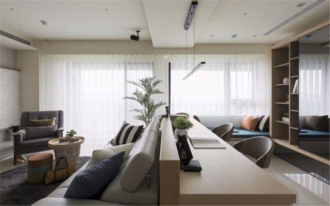 客厅米色隔断北欧风格装潢图片
