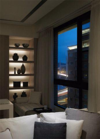 客厅白色窗帘现代简约风格装潢效果图