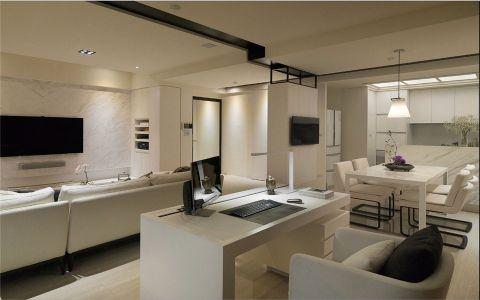 书房白色书桌现代简约风格装饰图片