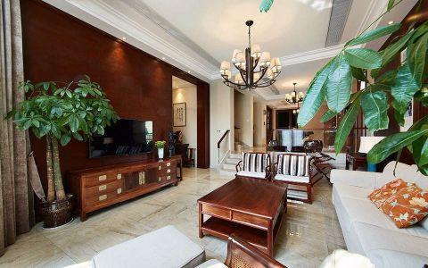 客厅红色背景墙新中式风格装潢设计图片