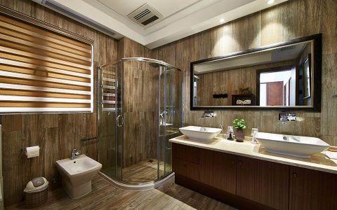 卫生间白色隔断新中式风格装潢效果图