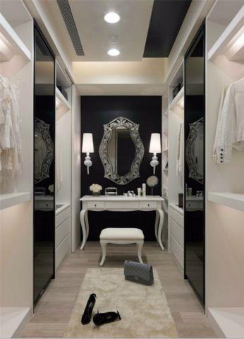 衣帽间白色梳妆台现代简约风格装饰设计图片