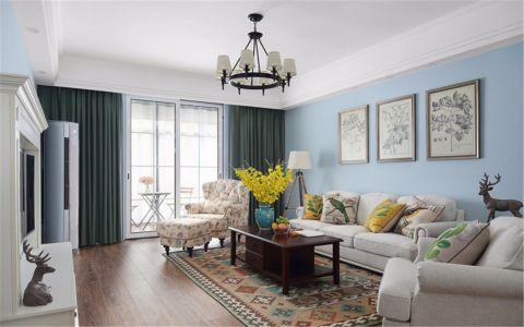 客厅蓝色背景墙美式风格装潢图片