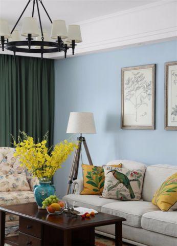 客厅绿色窗帘美式风格装修设计图片