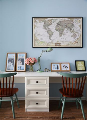 书房白色书桌美式风格装修效果图