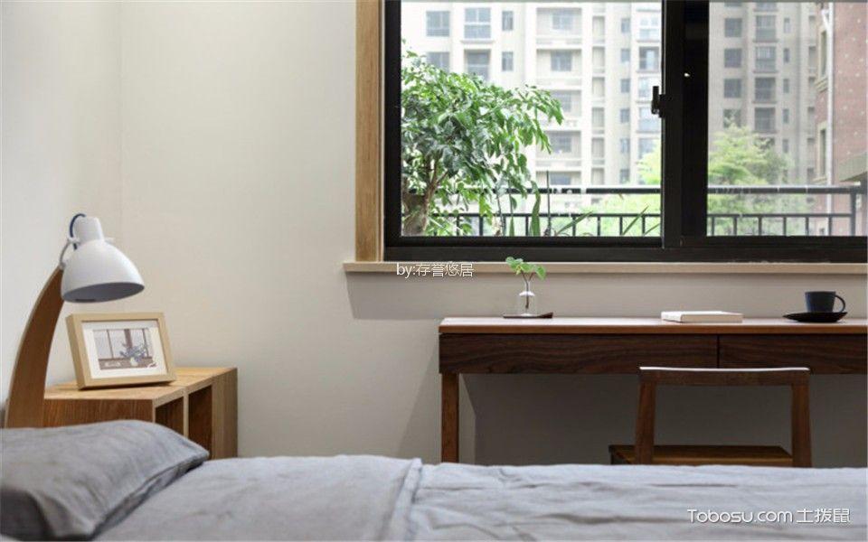卧室咖啡色书桌日式风格装修图片