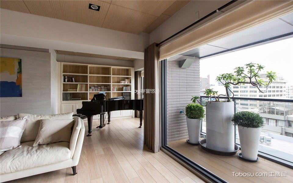 阳台米色窗帘现代风格装修设计图片
