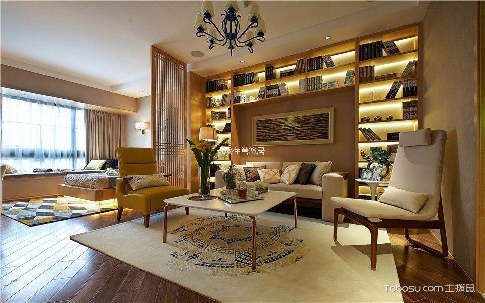 客厅黄色书架现代风格装潢设计图片