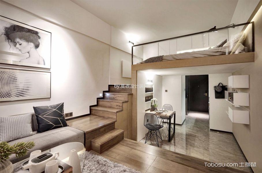 客厅咖啡色楼梯北欧风格装潢设计图片